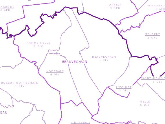 Carte du cadastre, indiquant la forme des anciennes communes de l'entité