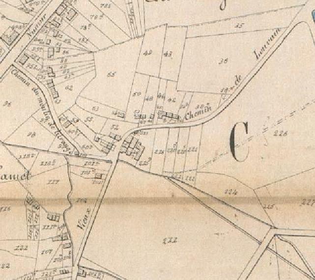 Détails de la carte Popp sur Hamme-Mille, montrant une partie du Vieux Chemin. La chaussée de Louvain est en haut à gauche et la rue indiquée comme « Chemin du Moulin de Litrange » est l'actuelle rue Scheers