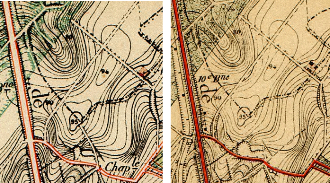 Détails des cartes IGN de 1884 (gauche) et 1895 (droite). A gauche, il ne reste déjà que la partie dans le bois et une drève jusqu'au sommet (« 95 »). A droite, ce chemin a presque complètement disparu, il ne reste qu'une ébauche du début. Remarquez que sur cette carte, le tram existe déjà (côté ouest de la chaussée)