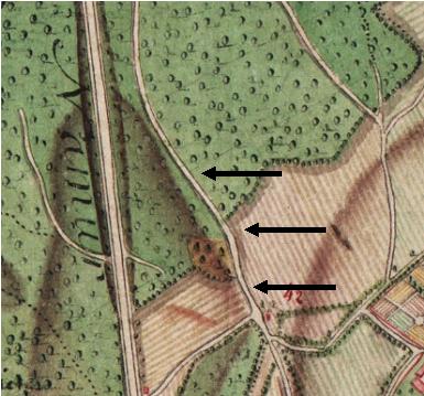 Détails de la carte Ferraris (1777) avec la continuation du Vieux Chemin de Louvain