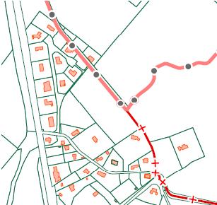 Détails de la carte cadastrale actuelle. La ligne pointillée avec des cercles est la frontière communale avec Bierbeek. La ligne pointillée avec des plus est la limite d'une « feuille cadastrale », et montre partiellement l'ancien tracé du Vieux Chemin à partir de la chapelle. Remarquez que la carte cadastrale telle que publié a un petit décalage entre la Flandre et la Wallonie